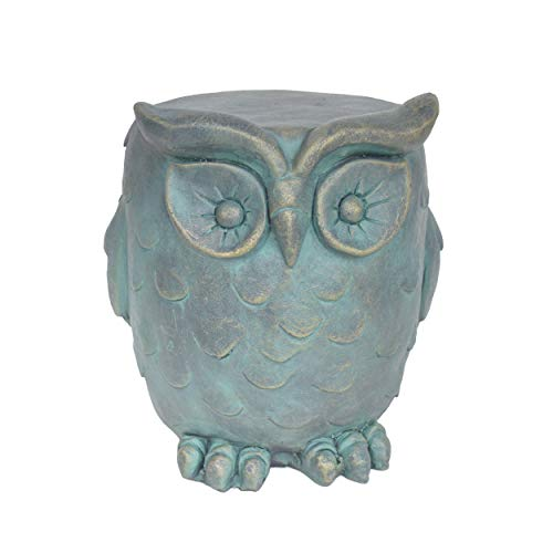 Christopher Knight Home 307406 Agnes Owl Garden Stool, Lightweight Concrete, Gold Patina Finish