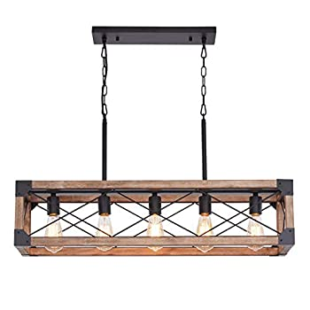 Bribyit Kitchen Island Lighting 33.5-Inch 5 Lights Farmhouse Linear Chandelier for Dining Room Pool Table Pendant Light Fixture Rustic Wood Grain Finish Industrial Pendant Light
