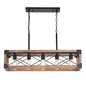 Bribyit Kitchen Island Lighting, 33.5-Inch 5 Lights Farmhouse Linear Chandelier for Dining Room Pool Table Pendant Light Fixture, Rustic Wood Grain Finish, Industrial Pendant Light
