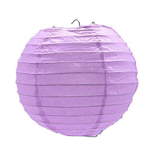 Mrytiuoperg 5pcs 4/6/8/10/12inch Round Chinese Paper Lanterns Hanging Ball Party Supplies Decor Craft Lanterns,PL24 Light purple,20cm 8inch