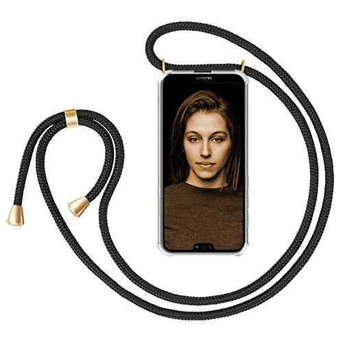 ZhinkArts Handykette kompatibel mit Huawei P20 Lite - Smartphone Necklace Hülle mit Band - Handyhülle Hülle mit Kette zum umhängen in Schwarz - Gold