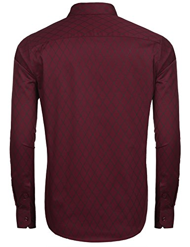 COOFANDY Herren Hemd Slim Fit Diamant-Gitter Karohemd Kariert Langarmshirt Freizeit Business Party Shirt für Männer - 2