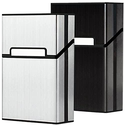 roygra Aluminum Cigarette Case 2 Pack, Magnetic Switch, 85mm King Size, 18-20 Capacity
