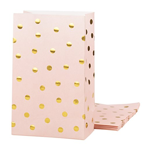 Party Treat Bags - 24-Pack Gift Bags Party Supplies, Paper Favor Bags, Recyclable Goodie Bags for Birthdays, Weddings, Baby Showers, Gold Foil Dots Design, Pink, 5.5 x 8.6 x 3 inches