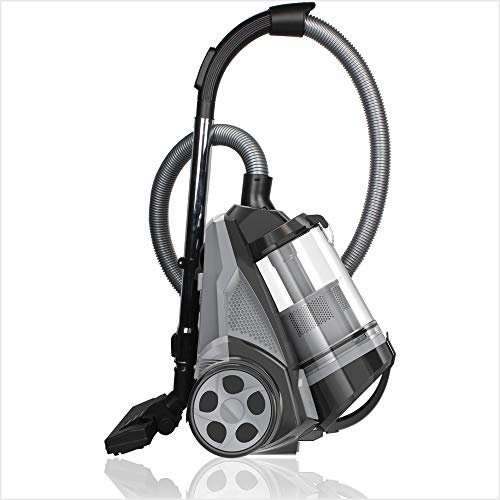 Product Image of the Ovente ST2620B Bagless Canister Cyclonic Vacuum – HEPA Filter – Includes Pet/Sofa, Bendable Multi-Angle, Crevice Nozzle/Bristle Brush, Retractable Cord – Featherlite, Black