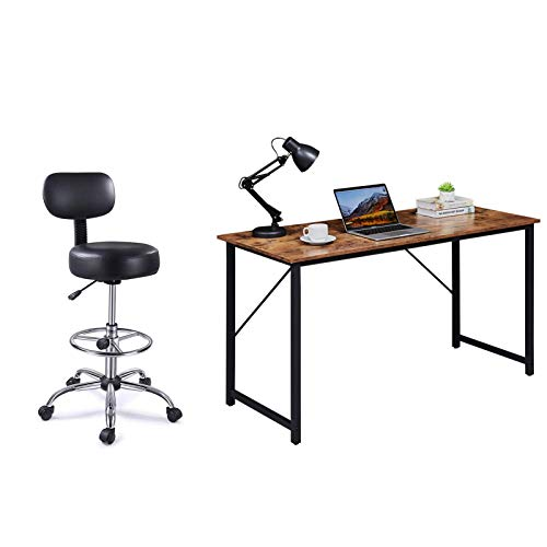 Superjare 55 Inches Computer Desk and Drafting Chair with Back