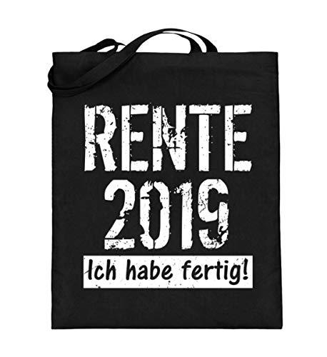 ALBASPIRIT Rente 2019 Spruch Ruhestand Abschiedsgeschenk Pensonierung - Lustiges Rentner Geschenk - Jutebeutel (mit langen Henkeln) -38cm-42cm-Schwarz
