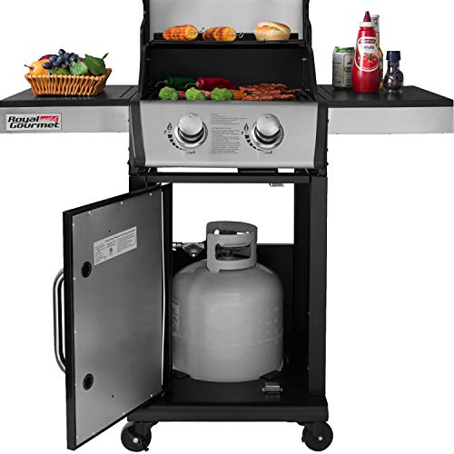 Royal Gourmet GG2101 2-Burner Cabinet Liquid Propane Gas Grill, BBQ Outdoor Cooking, Black