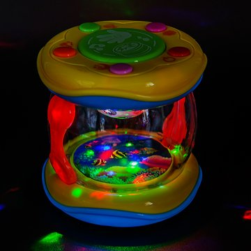 PALESTRAKI Tambor Coloreado para niños pequeños. Tambor con Sonidos de océano, pequeñas Dimensiones y fácil de Transportar. Juego de Bolsillo para niños con más de un año. Juguete para bebés y niños.