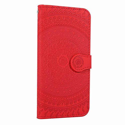 Funda para iPhone X/XS Protectora PU Funda Multi-ángulo a Prueba de Golpes y Polvo a Prueba de Cuero Magnético Plegable Ranuras para Tarjetas para iPhone X/XS Gofrado Mandala (iPhone X, Rojo)