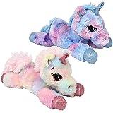 Tribello Unicorn Stuffed Animal Unicorn Toys for Girls and Boys 12-Inch Lying Unicorn Plush - Assorted Neon Colors