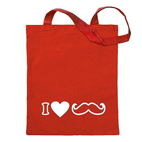 Kiwistar Me Gustan los Bigotes Bolsa de Yute - Proverbios Impresos Que Cubren Modelos Bolsa de Fitness con Forma de Bolsa de algodón colgada de un Mango Largo Rojo Size: 30cm