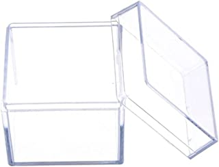 Zfl-flsSSH Jewelry Boxes for Women, Clear 5 Sided Jewelry Display Storage Box Case Square Cube Props Box Plastic Storage