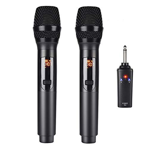 Kithouse K380S UHF Rechargeable Wireless Microphone Karaoke Microphone Wireless Mic Dual with Receiver System Set - Professional Handheld Dynamic Cordless Microphone for Singing Karaoke Speech Church