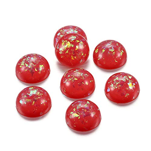 JINAN Cabujones redondos de resina de 12 mm con forma de hojas doradas, varios colores, cabujón redondo para joyería y accesorios (color: rojo AB)