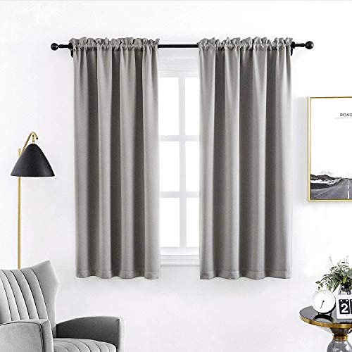 Anjee Blackout Curtains for Bedroom 45 Inches Length Grey Solid Plain Window Curtains Thermal Insulated Drapes 2 Panels Gray Rod Pocket Drapery, Space Grey 38x45 Inches