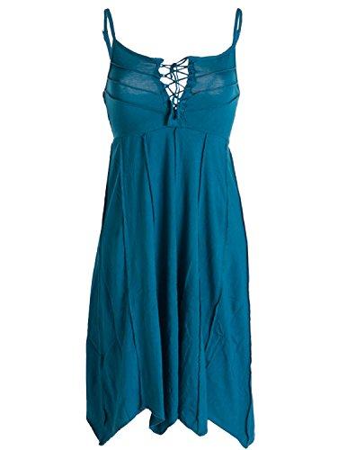 Vishes - Alternative Bekleidung - Leichtes Sommerkleid mit verstellbaren Trägern türkis 40 (L)