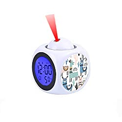 LCD Digital LED Display Projection Alarm Clock Talking with Voice Thermometer Function Desktop Llama Patterned Blue, Green & Pink