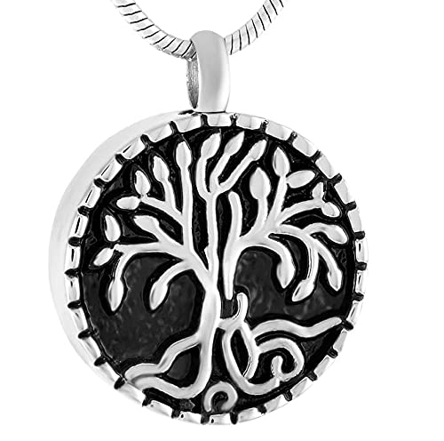BHSICSACLJ Collar de joyería Collar de Urna de Recuerdo de Ceniza de árbol de la Vida Tarro de Ceniza Encantador para Mascotas Cenizas humanas joyería Conmemorativa Collar de urna