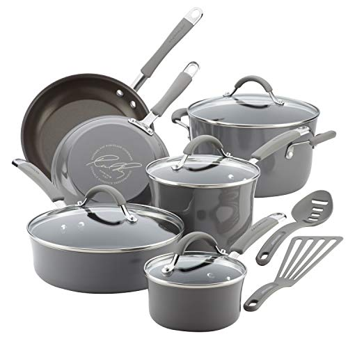 Rachael Ray Cucina Nonstick Cookware Pots and Pans Set 12 Piece Sea Salt Gray