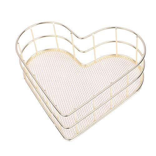 BESPORTBLE Metall Desktop-Ablagefach Korb Herzform Schmuck Kosmetik Geschirrablage Veranstalter Halter für Home Küche Bad Dekoration