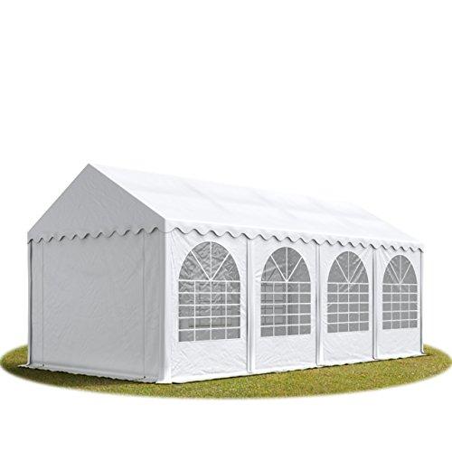 TOOLPORT Festzelt XXL Partyzelt 4x8m, hochwertige ca. 550g/m² feuersichere PVC Plane nach DIN in weiß, 100% wasserdicht, vollverzinkte Stahlkonstruktion mit Verbolzung, Seitenhöhe ca. 2,6 m