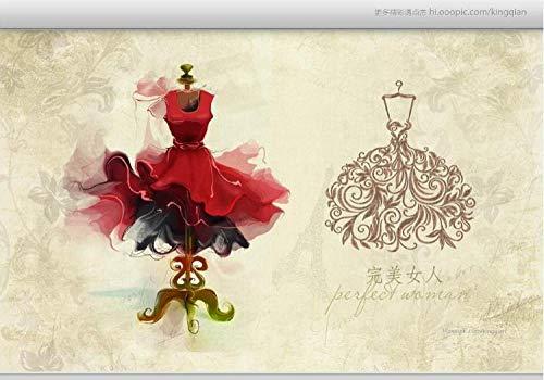 Papel tapiz Ropa roja pintada a mano fotos de boda tienda de ropa sastrería centro comercial plaza boda tienda cartel mural-150cmx105cm(LxA)