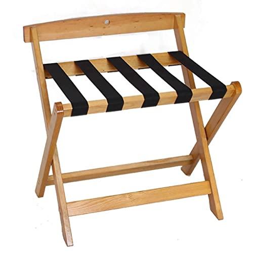 Riyyow Supporto per Bagagli in Legno massello 50x60x60cm Stand per Valigia Pieghevole, con 5 Cinghie in Nylon - Easy Assembly - per casa, Camera da Letto e Viaggi (Color : A)