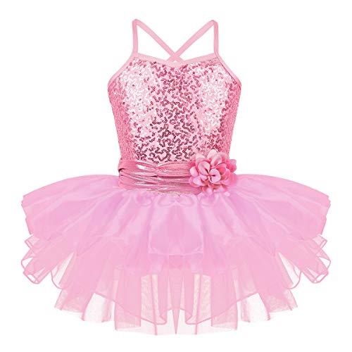 iEFiEL Mädchen Ballettkleid Pailletten Kleid Ballerinas Kostüm Ballett Trikot Ballettanzug mit Tütü Röckchen Tanzkleid Rosa 110