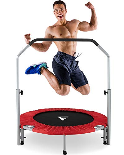 """FiveJoy 40"""" Foldable Mini Trampoline for Kids and Adults, Fitness Rebounder with Adjustable Foam Handle, Exercise Trampo-line Indoor/Garden Workout Max Load 330 lbs"""