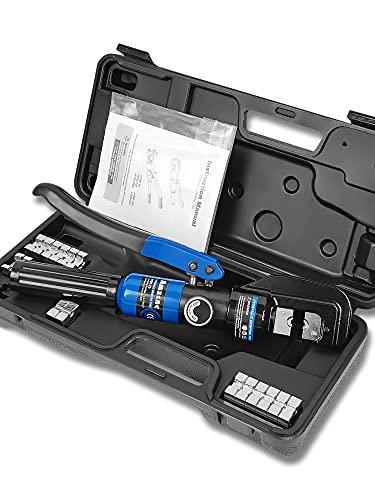 AMZCNC 8 Tons Hydraulische Presszange Crimpzange 4-70 mm² Zange Kabelschuhzange with 9 Pairs of Dies