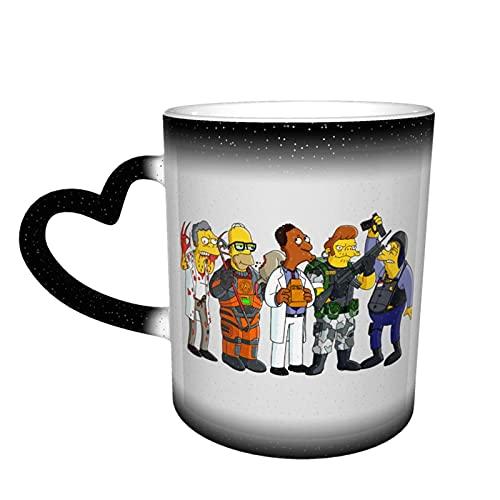 Simpsons - Taza cambiante de color en el cielo, cerámica sensible al calor, color cambiante, taza de viaje, taza de café, tazas de té, color negro
