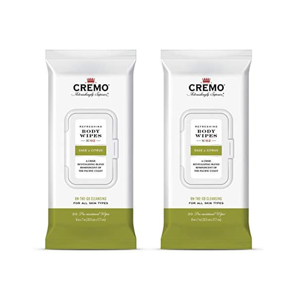 Cremo Refreshing Sage & Citrus Body Wipes, A Revitalizing Combination of Bright Mandarin, Dry Herbs and White cedar, 60… 1