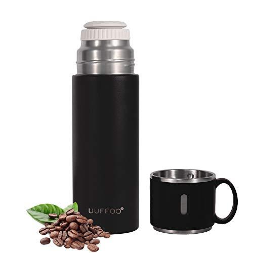 Botella de agua de acero inoxidable con aislamiento de doble pared de 420 ml, con tapa integrada a prueba de fugas, para hombres y mujeres, se puede utilizar como (negro)