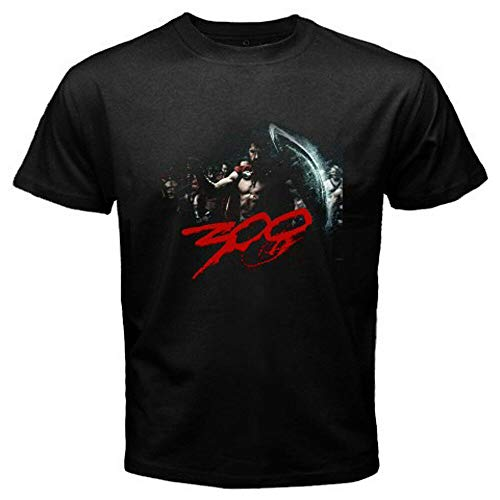 New 300 Movie Leonidas Sparta Emperor Guardian T-Shirt Graphic Top Printed Shirt Short Sleeve Mens tee Black L
