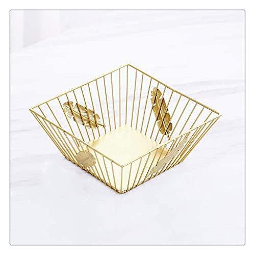 QWEA Decoración para el hogar Regalos Bandejas para fruteros Decorativas Plato de frutas de hierro forjado en oro metálico Accesorios de decoración de mesa de cocina (Tamaño: Mediano)