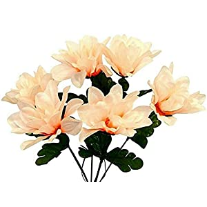 6 Dahlia 3″ Silk Flowers Beige Wedding Bouquet Artificial Decor Fake Crafts Faux, for Wedding Supplies