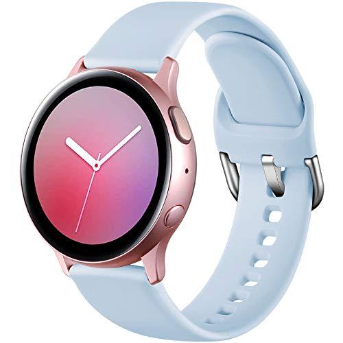 Dirrelo Deportiva Correa Compatible con Samsung Galaxy Watch Active/Active 2 40mm/44mm, Reemplazo de Silicona para Galaxy Watch 42mm/Gear Sport/Gear S2 Classic para Mujeres y Hombres, Azul Claro S