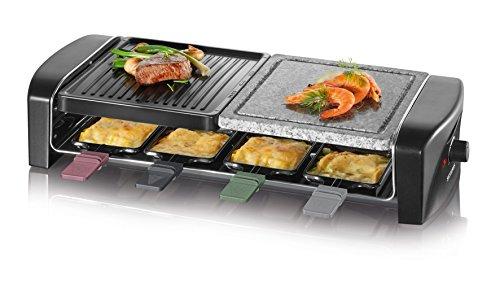SEVERIN RG 9645 Raclette Grill con Piedra Natural y Plancha, 1.400 W aprox., Incl. 8 Mini-Sartenes