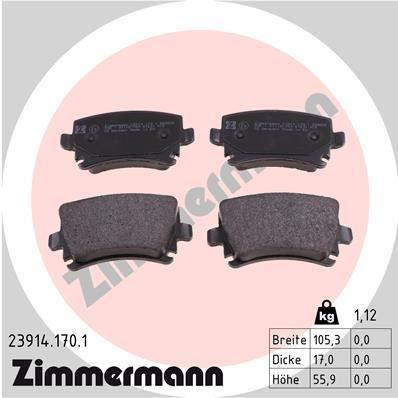 Zimmermann 23914.170.1Juego de pastillas de freno, traseras, 8 muelles con sensores de preparación, incluidos accesorios