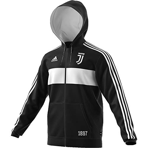 adidas Herren Juventus Full Zip Kapuzenjacke, schwarz/weiß, L