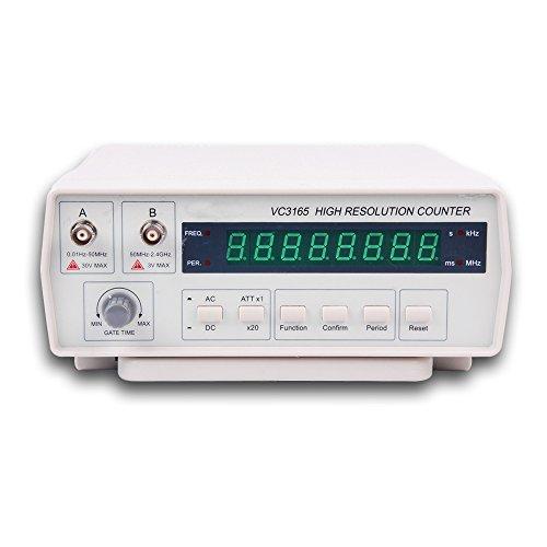 Contador de frecuencia, RISEPRO Medidor de señal de frecuencia de banco digital con cable de alimentación CA Cables de prueba BNC 10Hz - 2.4 GHz VC3165