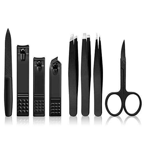 8Pcs Nail Clippers Set With Precision Tweezers,Fingernail and Toenail Clippers for Thick Nail,Professional Stainless Steel Best Precision Tweezers for Eyebrows Eyelashes Extensions, Ingrown Hair