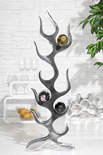 Casa Padrino Designer Weinregal für 9 Flaschen poliertes Aluminium Höhe: 93 cm, Breite: 27 cm, Tiefe: 14 cm - Flaschenhalter, Flaschenablage Flammen Flames