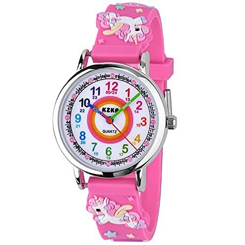 KZKR 3D Reloj para niños Reloj para niñas Reloj Deportivo Digital Reloj de Aprendizaje analógico de Cuarzo de Silicona Reloj de Regalo