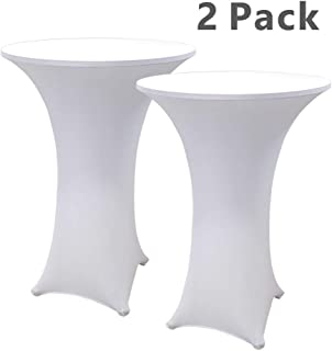 Hipinger 2 Pack 30 inch Highboy Cocktail Round Spandex Table Cover Four-Way Tight Fitted Stretch Tablecloth Table Cloth for Outdoor Party DJ Tradeshows Banquet Vendors Weddings(30''X42''(2PC),White)