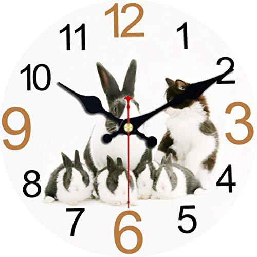 BRYSJ Reloj de Pared Vintage, Relojes de Pared para decoración del hogar, Relojes de Pared con diseño de Animales Grandes, Reloj de Pared de Conejo de 6,34 cm