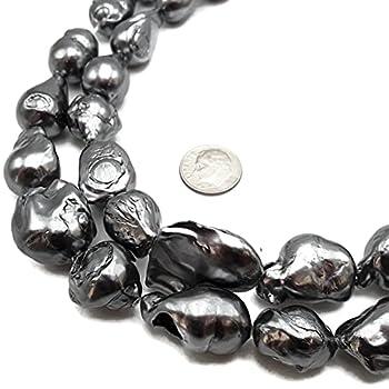 Dark Gray Coated Fresh Water Pearl Baroque Flameball Beads 16x20mm 15.5   Strand