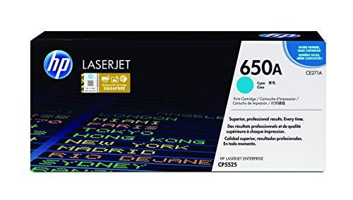 HP 650A CE271A Cian, Cartucho Tóner Original, de 15.000 páginas, para impresoras HP Color LaserJet Enterprise M750dn, M750dn, M750n, M750n, M750xh, M750xh, CP5525dn, CP5525n y CP5525xh