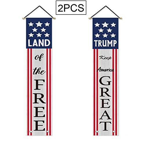 YAP Amerikanische Flagge Porch Zeichen vierten Juli Independence Day Hängebanner Sternenbanner patriotischer Türdeko willkommenes Zeichen Haustür Dekorationen 2ST